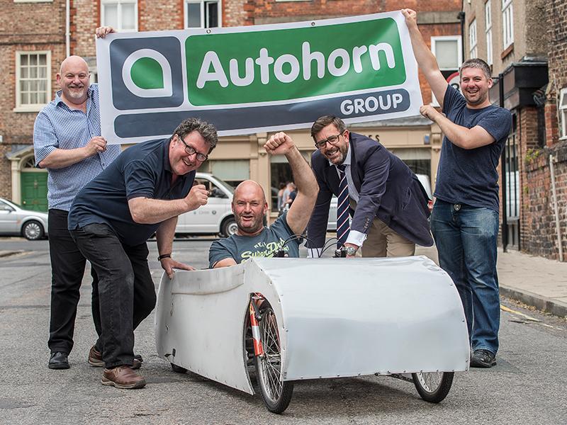 Autohorn team in soapbox car