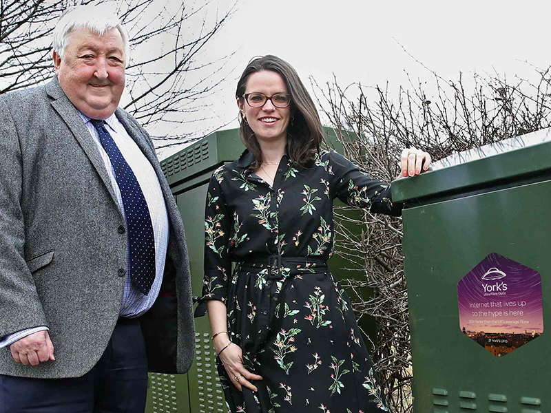 TalkTalk Director of Fibre Alex Birtles stood with York Councillor Ian Gillies