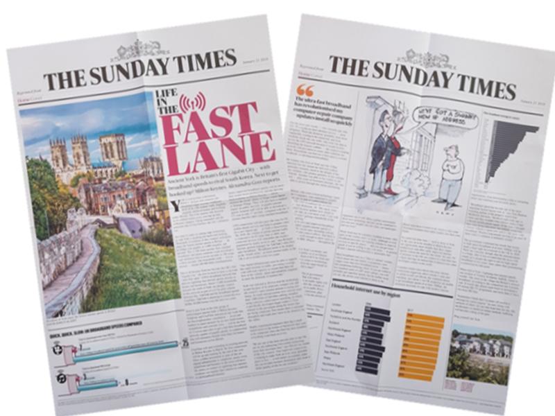 The Sunday Times double spread article regarding TalkTalk in York