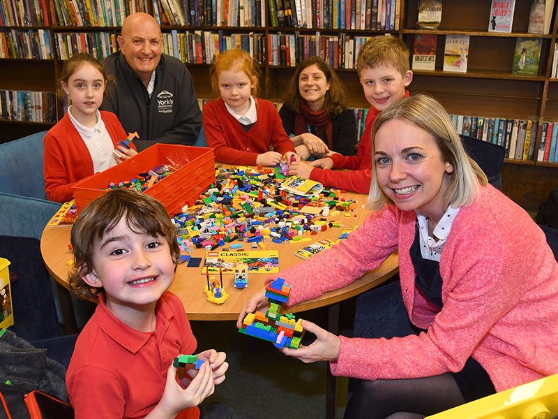 TalkTalk team with children at library playing with LEGO